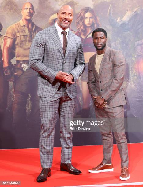 Dwayne Johnson and Kevin Hart arrive at the German premiere of 'Jumanji Willkommen im Dschungel' at Sony Centre on December 6 2017 in Berlin Germany