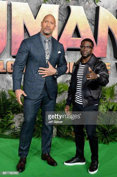 Dwayne Johnson and Kevin Hart attend the 'Jumanji: Welcome To The Jungle' UK premiere held at Vue West End on December 7, 2017 in London, England.