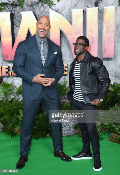 Dwayne Johnson and Kevin Hart attend the UK premiere of 'Jumanji Welcome To The Jungle' at Vue West End on December 7 2017 in London England