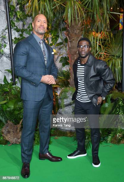 Dwayne Johnson and Kevin Hart attend the UK premiere of Jumanji Welcome To The Jungle at Vue West End on December 7 2017 in London England