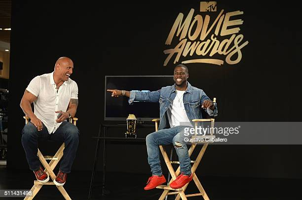 Dwayne Johnson and Kevin Hart prep to host the 2016 MTV Movie Award at The Edition on February 20 2016 in Miami Beach Florida