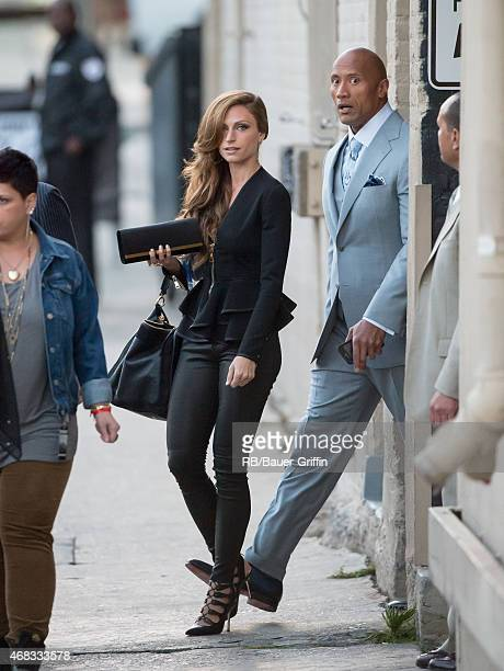 Dwayne Johnson and Lauren Hashian are seen at 'Jimmy Kimmel Live' on April 01 2015 in Los Angeles California