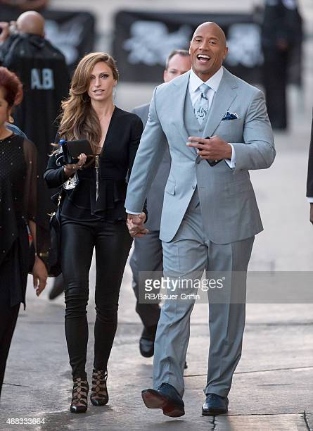 Dwayne Johnson and Lauren Hashian are seen at 'Jimmy Kimmel Live' on April 01, 2015 in Los Angeles, California.