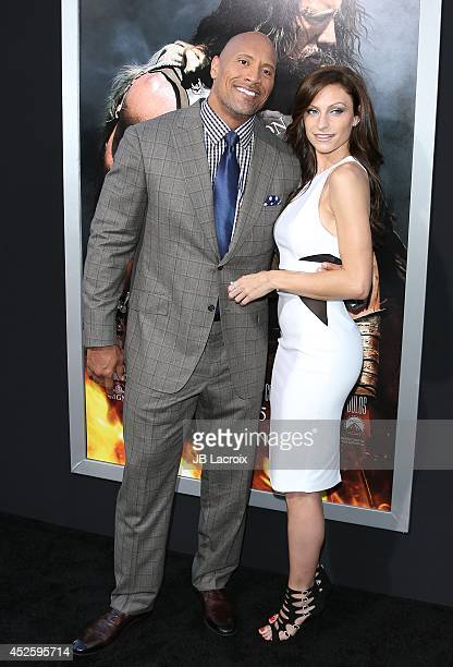 Dwayne Johnson and Lauren Hashian attend the Hercules Los Angeles Premiere on July 23 2014 at the TCL Chinese Theatre in Hollywood California