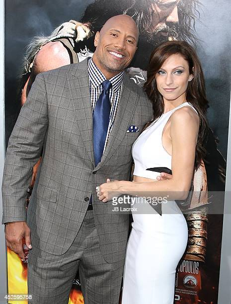 "Dwayne Johnson and Lauren Hashian attend the ""Hercules"" Los Angeles Premiere on July 23, 2014 at the TCL Chinese Theatre in Hollywood, California."