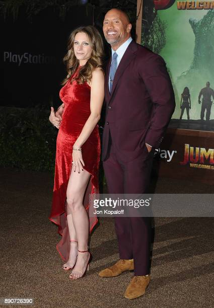 Dwayne Johnson and Lauren Hashian attend the Los Angeles Premiere Jumanji Welcome To The Jungle at the TCL Chinese Theatre on December 11 2017 in...