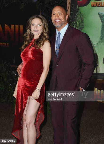 "Dwayne Johnson and Lauren Hashian attend the Los Angeles Premiere ""Jumanji: Welcome To The Jungle"" at the TCL Chinese Theatre on December 11, 2017 in..."