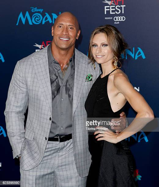 Dwayne Johnson and Lauren Hashian attend the premiere of Disney's 'Moana' at AFI FEST 2016 at the El Capitan Theatre on November 14 2016 in Hollywood...