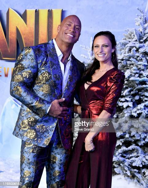 "Dwayne Johnson and Lauren Hashian attends the premiere of Sony Pictures' ""Jumanji: The Next Level"" at TCL Chinese Theatre on December 09, 2019 in..."