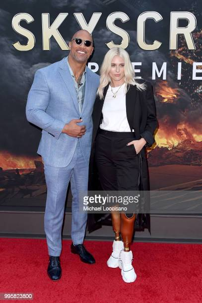 Dwayne Johnson and Lauren Wasser attend the 'Skyscraper' New York Premiere at AMC Loews Lincoln Square on July 10 2018 in New York City