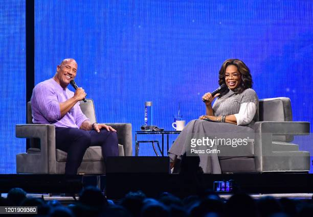 Dwayne Johnson and Oprah Winfrey onstage during Oprah's 2020 Vision: Your Life in Focus Tour presented by WW at State Farm Arena on January 25, 2020...