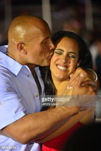 Dwayne Johnson and Simone Alexandra Johnson attend Paramount Pictures' World Premiere of 'Baywatch' on May 13 2017 in Miami Beach Florida