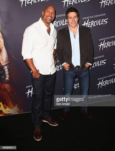 Dwayne Johnson and Stephen Peacocke walk the red carpet ahead of a screening of Hercules at Event Cinemas George Street on June 19 2014 in Sydney...