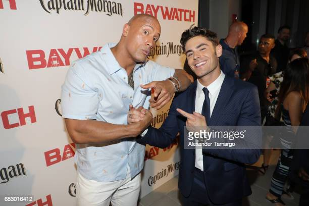 Dwayne Johnson and Zac Efron attend the world premiere of Paramount Pictures film 'Baywatch' at South Beach on May 13 2017 in Miami Florida