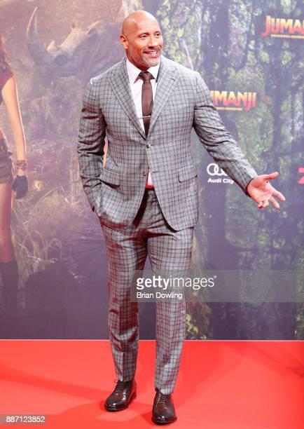 Dwayne Johnson arrives at the German premiere of 'Jumanji Willkommen im Dschungel' at Sony Centre on December 6 2017 in Berlin Germany