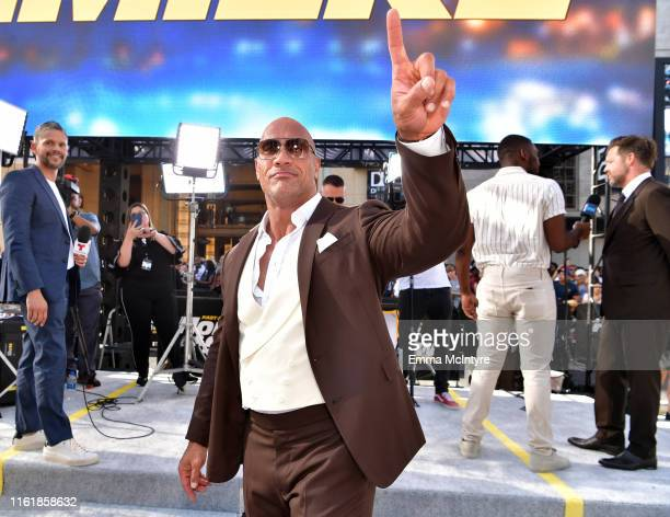"""Dwayne Johnson arrives at the premiere of Universal Pictures' """"Fast & Furious Presents: Hobbs & Shaw"""" at Dolby Theatre on July 13, 2019 in Hollywood,..."""