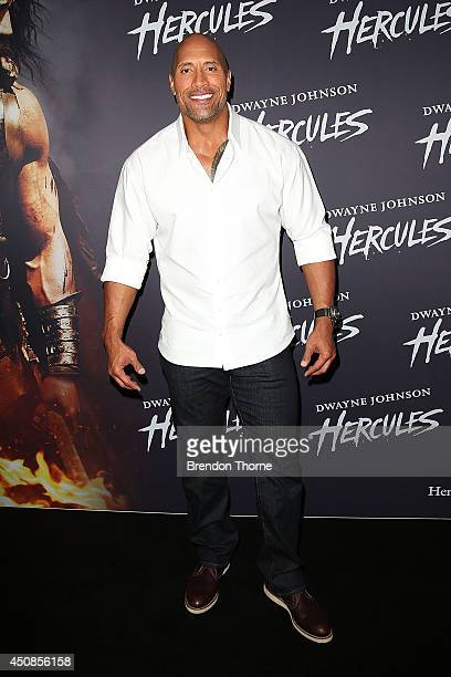 Dwayne Johnson arrives at the screening of HERCULES at Event Cinemas George Street on June 19 2014 in Sydney Australia