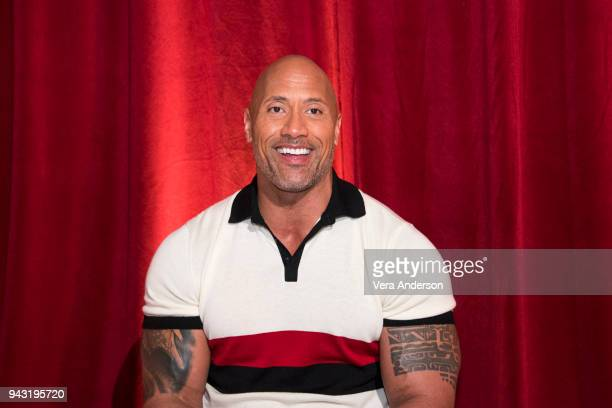 Dwayne Johnson at the Rampage Press Conference at The Lot on April 6 2018 in West Hollywood California