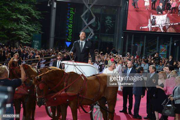 Dwayne Johnson attend the Europe premiere of the film 'Hercules' at CineStar on August 21, 2014 in Berlin, Germany.