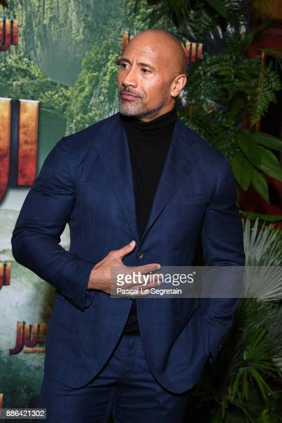 Dwayne Johnson attends Jumanji Welcome to the Jungle Premiere at Le Grand Rex on December 5 2017 in Paris France
