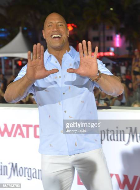Dwayne Johnson attends Paramount Pictures' World Premiere of 'Baywatch' on May 13 2017 in Miami Beach Florida