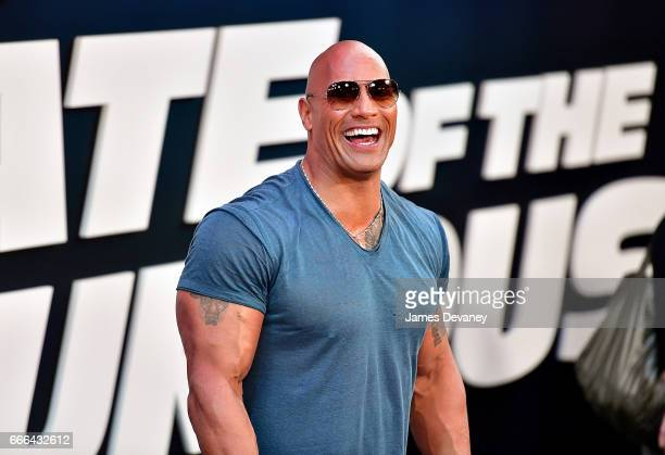 Dwayne Johnson attends 'The Fate Of The Furious' New York premiere at Radio City Music Hall on April 8 2017 in New York City