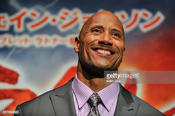 Dwayne Johnson attends the Japan Premiere of 'Hercules' at the Toho Cinemas on October 19 2014 in Tokyo Japan