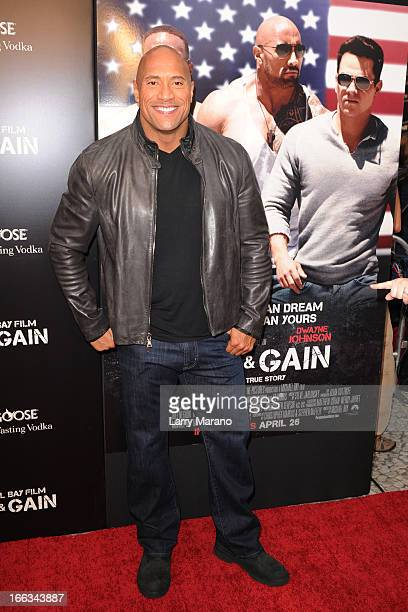 Dwayne Johnson attends the 'Pain Gain' premiere on April 11 2013 in Miami Beach Florida