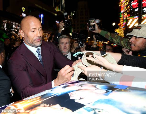 Dwayne Johnson attends the premiere of Columbia Pictures' 'Jumanji Welcome To The Jungle' on December 11 2017 in Hollywood California