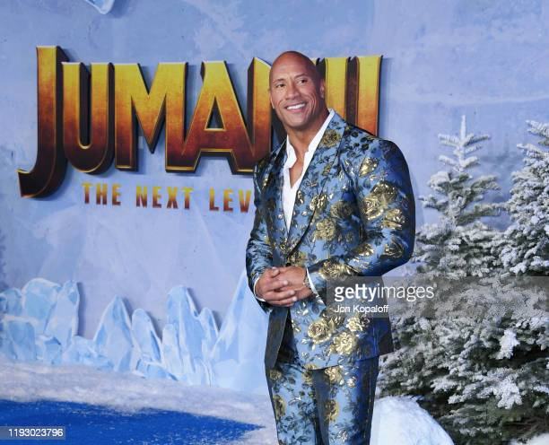"""Dwayne Johnson attends the premiere of Sony Pictures' """"Jumanji: The Next Level"""" on December 09, 2019 in Hollywood, California."""