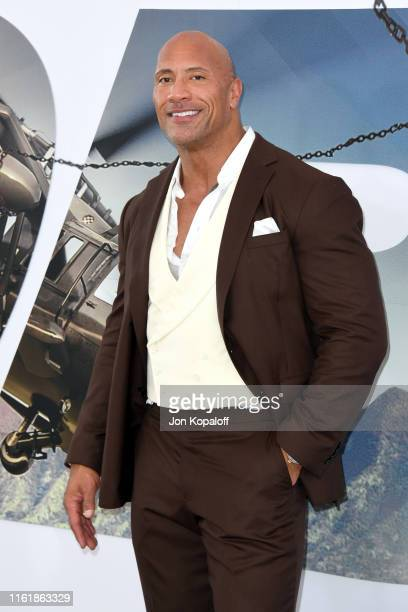 """Dwayne Johnson attends the premiere of Universal Pictures' """"Fast & Furious Presents: Hobbs & Shaw"""" at Dolby Theatre on July 13, 2019 in Hollywood,..."""