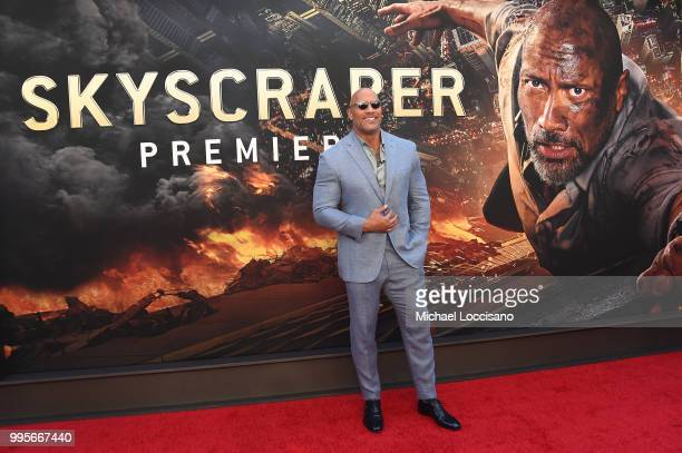 Dwayne Johnson attends the Skyscraper New York Premiere at AMC Loews Lincoln Square on July 10 2018 in New York City