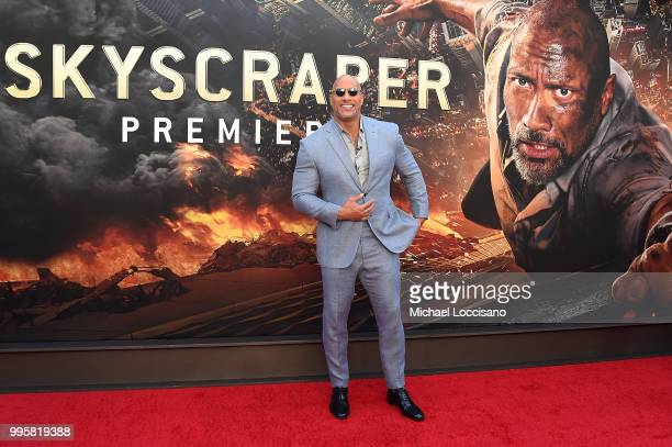 Dwayne Johnson attends the 'Skyscraper' New York Premiere at AMC Loews Lincoln Square on July 10 2018 in New York City
