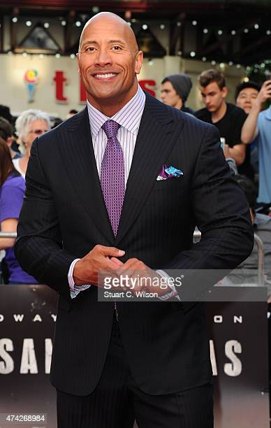 Dwayne johnson attends the UK Premiere of 'San Andreas' at Odeon Leicester Square on May 21 2015 in London England