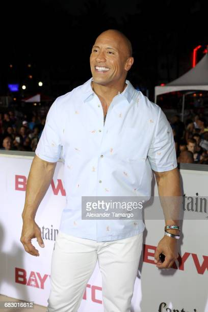 Dwayne Johnson attends the world premiere of Paramount Pictures film 'Baywatch' at South Beach on May 13 2017 in Miami Florida
