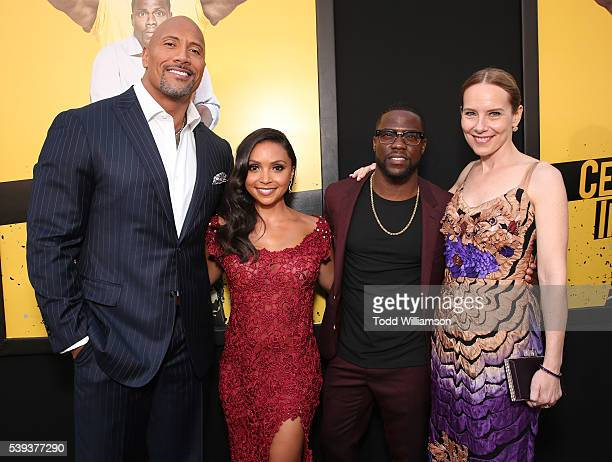 Dwayne Johnson Danielle Nicolet Kevin Hart and Amy Ryan attend the premiere Of Warner Bros Pictures' Central Intelligence at Westwood Village Theatre...