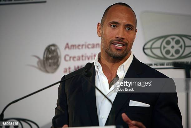 Dwayne Johnson delivers keynote remarks during The Motion Picture Association of America's 'Business of Show Business' symposium at the Hotel Monaco...