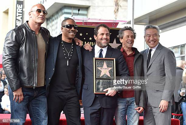 Dwayne Johnson Eddie Murphy Brett Ratner Brian Grazer and Kevin Tsujihara attend the ceremony honoring Brett Ratner with a Star on the Hollywood Walk...