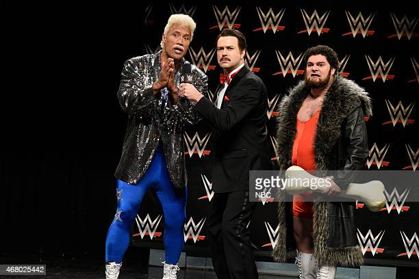 LIVE 'Dwayne Johnson' Episode 1678 Pictured Dwayne Johnson as Koko WatchOut Taran Killam and Bobby Moynihan as Trashyard Mutt during the 'WWE Promo...