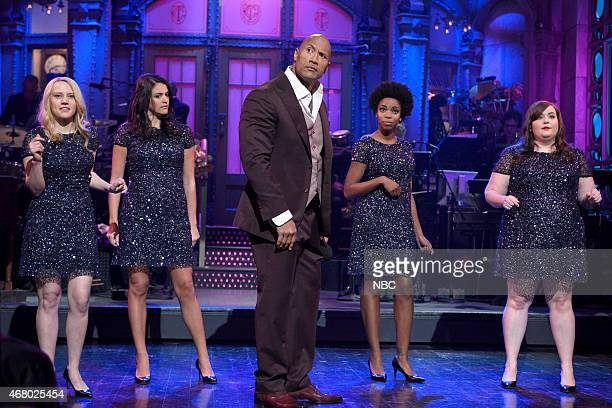 LIVE Dwayne Johnson Episode 1678 Pictured Kate McKinnon Cecily Strong Dwayne Johnson Sasheer Zamata and Aidy Bryant during Dwayne Johnson's Franchise...