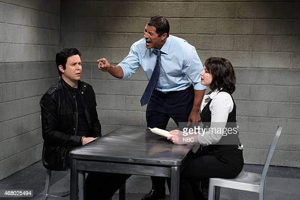 LIVE 'Dwayne Johnson' Episode 1678 Pictured Taran Killam as Mr Langley Dwayne Johnson as Agent Dunwity and Vanessa Bayer as Agent Barnes during the...