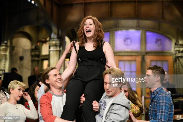 LIVE Dwayne Johnson Episode 1725 Pictured Alex Moffat Vanessa Bayer Beck Bennett in Studio 8H on May 20 2017