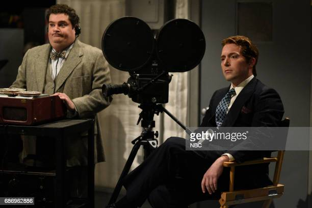 LIVE Dwayne Johnson Episode 1725 Pictured Bobby Moynihan Beck Bennett as a Howard during RKO Movie Set in Studio 8H on May 20 2017