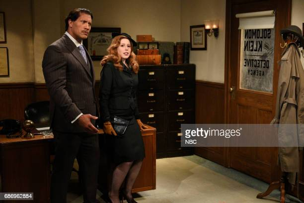 LIVE 'Dwayne Johnson' Episode 1725 Pictured Dwayne Johnson as Brock Tenderson Vanessa Bayer as Janet Charmpagne/Mrs Carmichael during 'RKO Movie Set'...