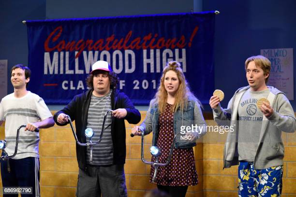 LIVE Dwayne Johnson Episode 1725 Pictured Kyle Mooney Bobby Moynihan Vanessa Bayer Beck Bennett as Graduating Seniors during Senior Video in Studio...