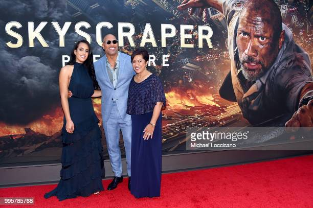NEW Dwayne Johnson his daughter Simone Garcia Johnson and his mother Ata Johnson attend the 'Skyscraper' New York Premiere at AMC Loews Lincoln...