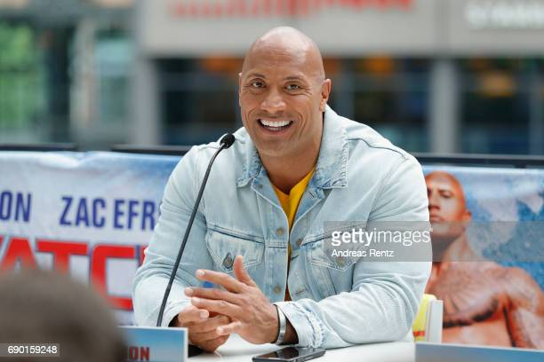 Dwayne Johnson is seen on stage at the 'Baywatch' Photo Call at Sony Centre on May 30 2017 in Berlin Germany