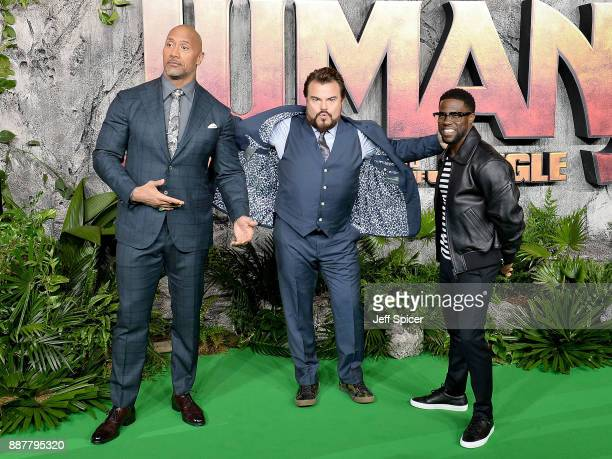 Dwayne Johnson Jack Black and Kevin Hart attend the 'Jumanji Welcome To The Jungle' UK premiere held at Vue West End on December 7 2017 in London...