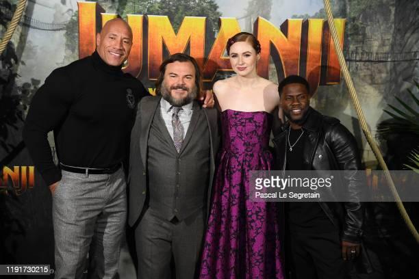 Dwayne Johnson Jack Black Karen Gillan and Kevin Hart attend the photocall of Jumanji Next Level film at le Grand Rex on December 03 2019 in Paris...