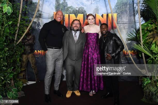 Dwayne Johnson Jack Black Karen Gillan and Kevin Hart attend the photocall of the Jumanji Next Level film at le Grand Rex on December 03 2019 in...